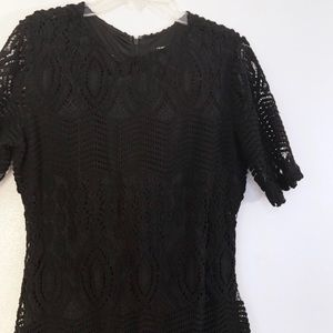 Sharagano Dresses - Black Lace Dress